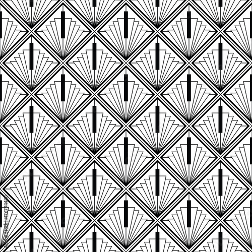 Fototapeta art deco monochrome seamless arabic black