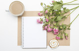 Mockup with blank notepad, cup of coffee and little garden pink roses. Morning still life. - 176797096