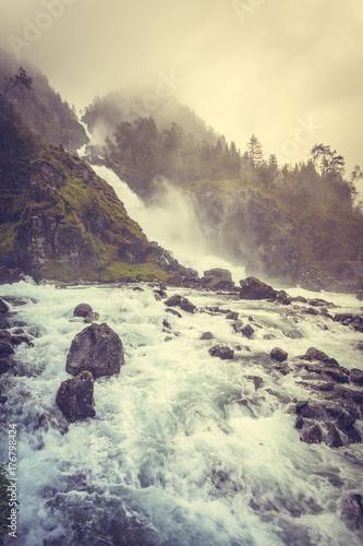 Latefossen waterfall in Norway - 176798424