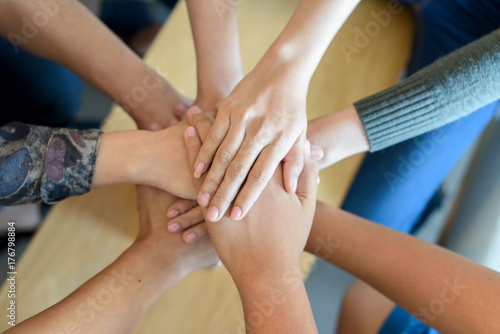 Team Teamwork Join Hands Partnership Concept .