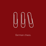 Minimalistic and funny concept of paperclip chaos Germany style. Vector illustration. Modern flat design. - 176801669