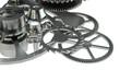 Metal watch mechanism on white background