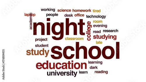 Night school animated word cloud, text design animation.
