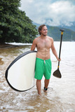 Stand-up paddle board watersport man going paddleboarding on nature lake. Happy fit male athlete with sexy abs body doing swimming activity in summer outdoors. - 176805828