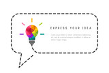 Text frame template with low poly lightbulb and speech bubble as creative idea concept - 176807612