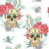 Vintage vector seamless pattern with skull and roses - 176811001