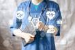 Doctor pushing button idea bulb virtual healthcare network.