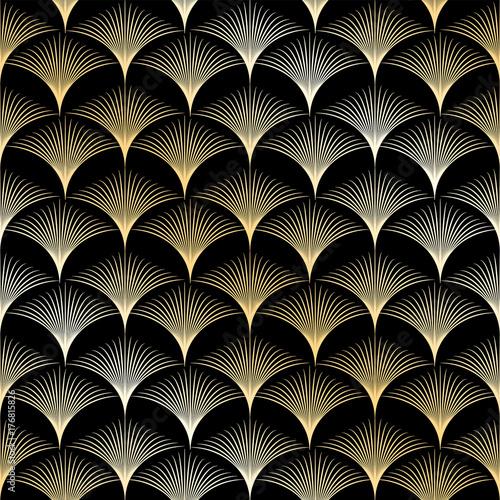 Fototapeta Golden seamless pattern in art deco style. Template for design. Vector illustration eps10