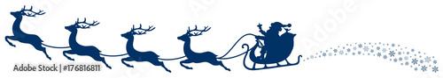 Fotobehang Hoogte schaal Christmas Sleigh Santa & Flying Reindeers Swirl Dark Blue