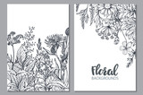 Floral backgrounds with hand drawn herbs and wildflowers. - 176818096