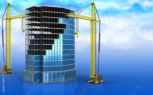 3d of office building construction