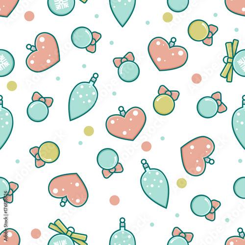Cotton fabric Seamless pattern of Christmas decorative balls