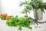 Green parsley, basil, sage, aromatic herbs and peppercorns. - 176819696