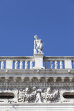 National Library of St Mark's (Biblioteca Marciana), statue at the top, Venice, Italy