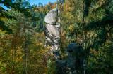 natural stone column in the forest - peak of Kerzenstein in Austria - 176823667