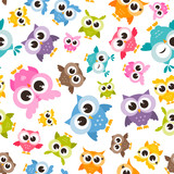 Seamless pattern with colorful funny owls