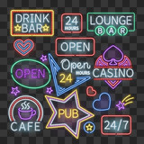 Realistic neon bar illumination signs isolated on transparent background - 176827094