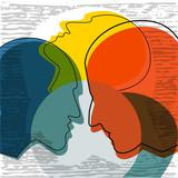 Schizophrenia concept, symbol of depresion, dementia. Vector ilustration. - 176827698
