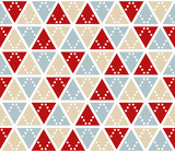 Vector abstract background, seamless pattern. Christmas colors triangles texture. Red silver gold geometric mosaic pattern. Simple backdrop design for xmas card. - 176828247