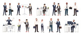 Big collection of business people or office workers dressed in smart clothing in different situations - making deal, conducting negotiation, working. Colorful cartoon characters. Vector illustration. - 176828285