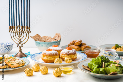 Plakát Jewish holiday Hanukkah, traditional feast side view