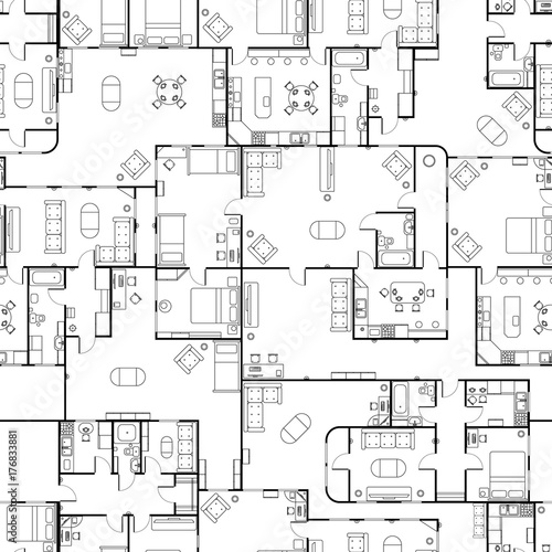 Black And White House Floor Plan With Interior Details Seamless