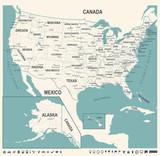 United States Map - Vintage Vector Illustration - 176834068