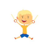 Happy boy hanging on gymnastic rings, kids physical activity cartoon vector Illustration - 176834231