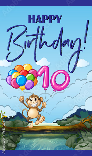 Foto op Aluminium Kids Birthday card with monkey and balloon number ten