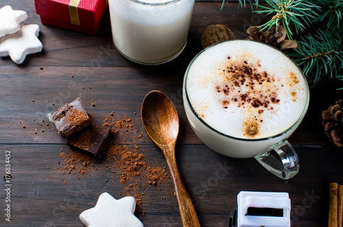 Papiers peints Cafe Christmas coffee with milk cocoa branches spruce cones