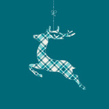 Hanging Reindeer Check Pattern Turquoise Background - 176834648