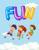 Three kids and balloons for word fun - 176835401