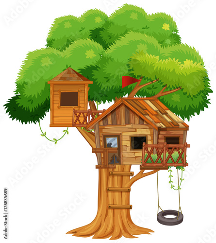 Foto op Aluminium Kids Treehouse with swing on the tree
