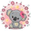 Greeting card Koala with flowers