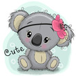 Cute Koala girl on a blue background