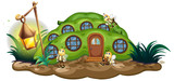 Greenpea house with bees in garden - 176835803