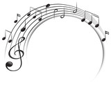 Music notes on scale - 176835808