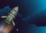 Rocket flying in the dark space - 176835821