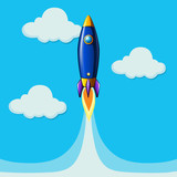 Rocket plane flying in blue sky - 176835835