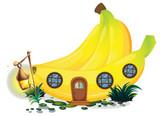 Banana house with lantern in garden - 176835846