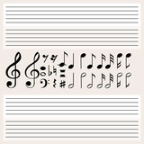 Music notes and blank scales - 176835864