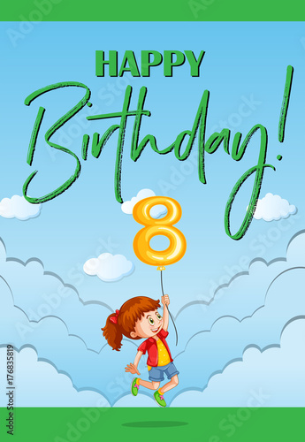 Aluminium Kids Happy birthday card for eight year old
