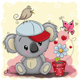 Cute cartoon Koala with flower - 176836008