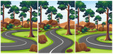 Three scenes of park with empty roads - 176836099