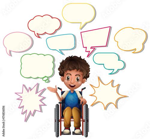 Papiers peints Jeunes enfants Little boy on wheelchair with blank speech bubbles