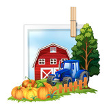 Farmyard with tractor and barn - 176836241