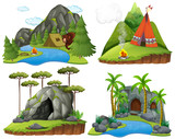 Four scenes with bear at campsite - 176836452