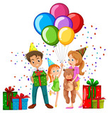Family at birthday party with balloons and presents - 176836482