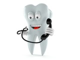 Tooth character holding a telephone handset - 176836655