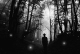 scary shadow in dark haunted forest, halloween landscape